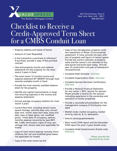 commercial loan document checklist for term sheet